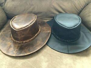 Black Brown Spaghetti Western Distressed Stitch Leather Cowboy HAT S-M-L-XL-XXL