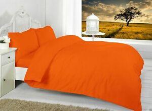 Single Bed Orange Duvet Quilt Cover Set Plain | Envelop End Flap For Easy Iron