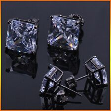 3/1 ctw Lab Diamond 4 Prong Hematite screw back square stud earrings 10mm