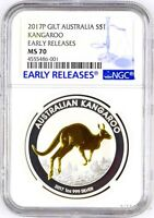 2017 P Australia GILDED Silver Kangaroo NGC MS 70 1 oz Coin w/OGP gilt ER LABEL