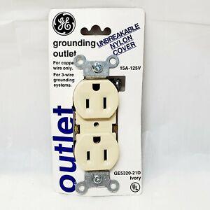 GE 54308 15A 125VAC Grounding Duplex Receptacle, Ivory