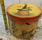 Vtg POPCORN FACTORY Metal Tin HALLOWEEN Pumpkin Black Cat Whimsical Crow bucket