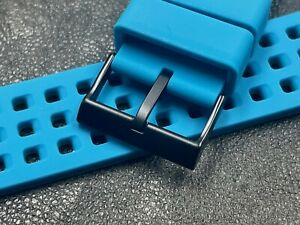 Long silicone vintage watch 24mm dive band black buckle built-in spring bars