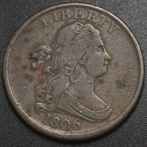 1806 Draped Bust 1/2c (Half Cent) Small 6 No Stems - Fine Condition