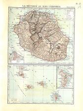 Empire Colonial Français La Réunion & Îles Comores Mayotte MAP CARTE ATLAS 1937