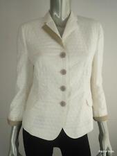 $1290 AKRIS PUNTO 8 M Textured Polka Dot Jacquard Cotton White Jacket Blazer EUC