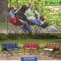 2 Person Love Seat Large Club 500 lb Capacity Camping Sports Foldable Camp Chair
