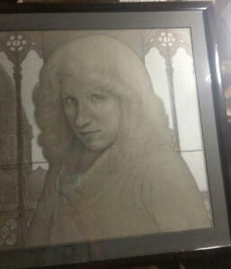 Rare 1982 Barton J. Faist Framed Pastel Portrait Of Sharon Zelevas In Italy
