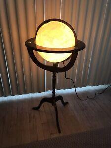 """Fucashun Lighted Floor Globe 12"""" Pedestal wooden vtg"""