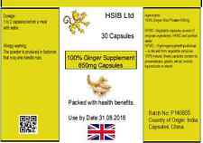 Ginger Capsules x 30  650mg SIZE- 100% Whole Ginger Root Try Some Now! HSIB Ltd