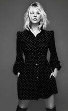 Kate Moss Topshop Noir Coeur Rouge Crêpe Vintage 60 S Mini Shift Robe Chemise UK 6 8