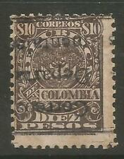 STAMPS-COLOMBIA. 1909. 10 Peso Brown. Departmental Ovpt Inverted. SG: D309v. MH