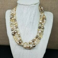 LIz Claiborne Champagne Taupe Smoky Faux Pearl & Crystal Bead 3 Strand Necklace