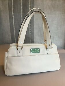 KATE SPADE NEW YORK WHITE LEATHER SHOULDER HANDBAG/PURSE GREAT CONDITION!