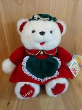 "Christmas Bear Family Plush MOMMA 21"" K-Mart 1992 White Stuffed Animal"