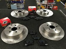 TOYOTA CELICA 1.8VVTI 140BHP 02-06 BRAKE DISC DRILLED GROOVED MINTEX PADS FR RR