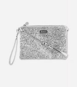 Justice Girls Silver Glitter Convertible Crossbody Bag Purse New with Tags