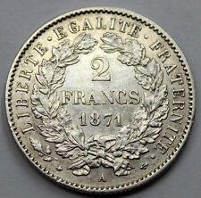 FRANCIA 1871 A PARÍS DOS 2 FRANCS FRANCOS MONEDA PLATA RARA EN ESTA CALIDAD EBC