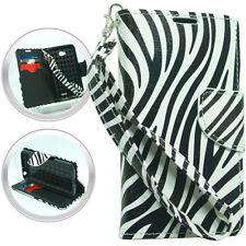 T-Mobile LG Optimus L90 Premium Leather Wallet Case Pouch Flip Cover Cover Zebra