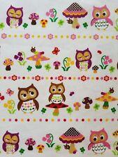 KOKKA Cosmo Japanese Import Cotton Canvas Fabric Owl Mushroom FQ cream