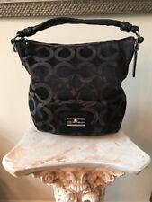 COACH Black Sateen Op-Art KRISTIN Leather Hobo Tote Purse Satchel Bag #14753
