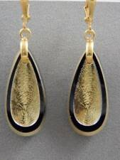 Black Teardrop Glass Dangle Earrings Mid Century Metallic Gold and