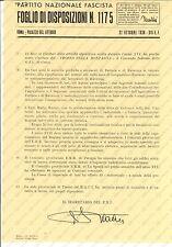 1938 PNF ROMA Apparecchio radiorurale ditta GELOSO *Foglio disposizioni 1175