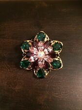 Vintage Gold Tone Green Purple Rhinestone Brooch Pin