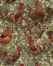 Fat Quarter Rooster Fields Chicken Red Cotton Quilting Fabric  Benartex