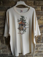 "Beige XL T-Shirt with ""S.O.S. From Texas"" Large Birdhouse Vine Bird"