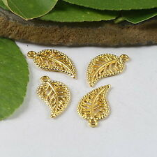 30 Pcs Gold tone  leaves charms findings h0478