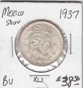 1937 Mexico 50 Centavos Silver Coin - NICE!!!