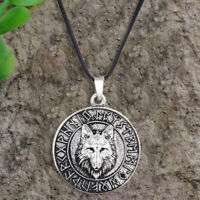Vintage Mens Wolf  Animal Head Pendant Necklace Viking Amulet Gifts Jewelry T ih