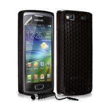 étui coque en gel transparent pour Samsung Wave 3 damier noir + Mini t + film