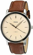 Fossil Men's The Minimalist FS5619 44mm Cream Dial Leather Watch
