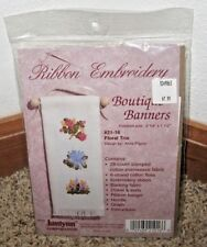 """JANLYNN RIBBON EMBROIDERY~""""FLORAL TRIO""""  BOUTIQUE BANNERS KIT~ #21-16~NIP"""