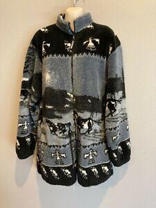 Women's BLACK MOUNTAIN OUTDOOR Fleece Plush Horse Southwest Jacket USA Size M/L
