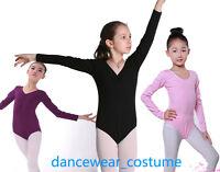 Girls Kids Long Sleeve Ballet Tight Dance Gymnastics Body Leotard 3-8Y 4Colors