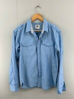 Rusty Mens Blue Long Sleeve Collared Dual Pockets Button Up Shirt Size Small