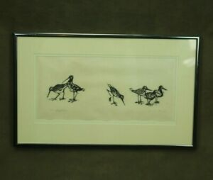 "Vintage Framed Woodcut Print Sandpipers 13x8"" Janet Mack Signed Birds Beach Art"