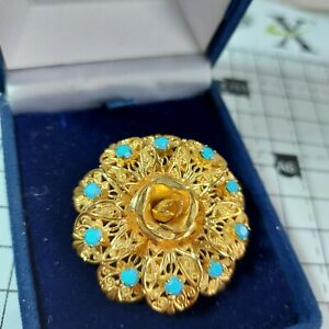 Retro Filigree Gold Tone Round Brooch, Central Rose, Faux Turquoise Stones