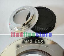silver AF Confirm M42 Lens to Canon EOS EF adapter 500D 1000D 1100D rebel + CAP