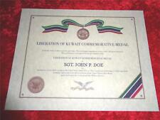 LIBERATION OF KUWAIT  COMMEMORATIVE CERTIFICATE ON 24 LB PARCHMENT PAPER