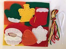 Felt Finger Puppet Kit Christmas Angel Santa Snow Bell Stocking Needle Yarn NEW
