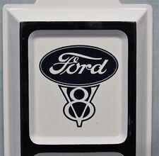 Ford V-8 Logo ~ Embossed Tin Thermometer