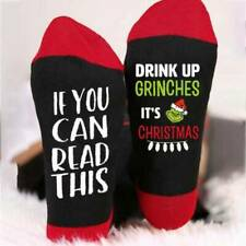 Christmas If You Can Read This Drink Up Elastic Middle Tube Cotton Socks~