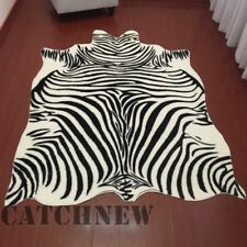 Large Zebra Cowhide Rug Cowskin Cow Hide Leather Carpet 6.9x4.6Feet TRICOLOR