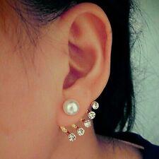 #1120 HOT! Fashion Women's Faux Pearl Five Rhinestone Crystal Ear Stud Earrings