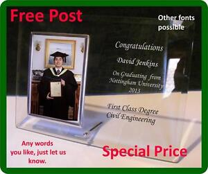 Personalised  Glass Graduation Photo Frame FREE ENGRAVING Other text No problem