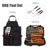3/7/18 Pcs Outdoor BBQ Tools Set Stainless Steel Barbecue Grill Utensil Kit AH